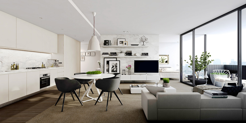 Inspiration un studio blanc moderne avec balcon guten morgwen - Decoration studio moderne ...