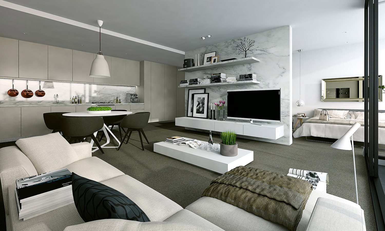 Inspiration un studio blanc moderne avec balcon guten morgwen for Modern apartment kitchen design