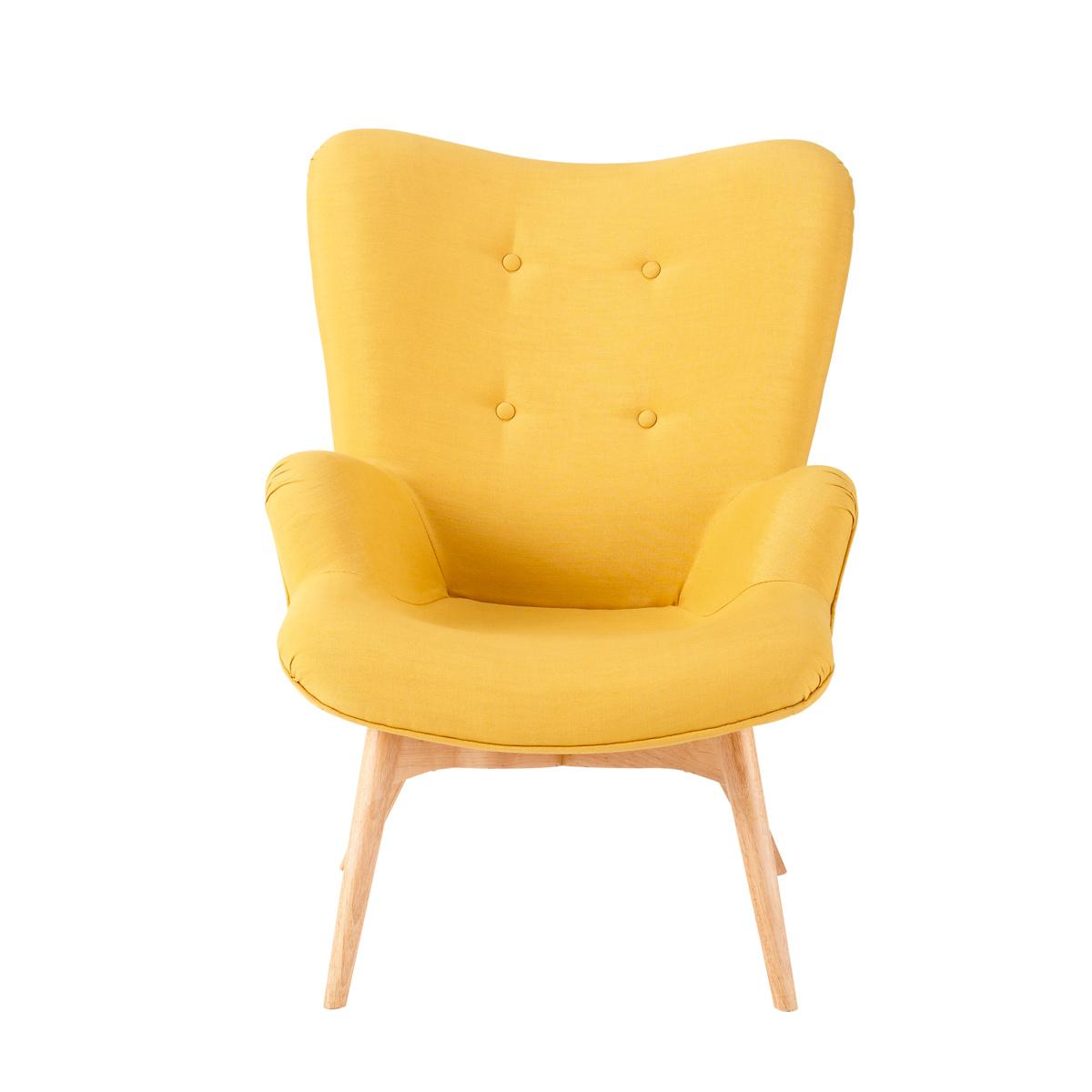 Fauteuil jaune for Fauteuil de table scandinave