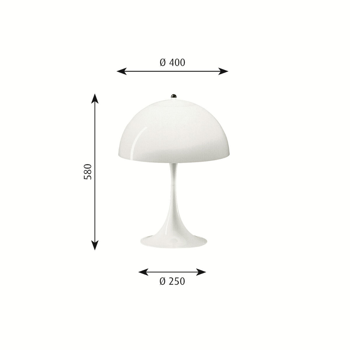 Lampe-table-Panthella-Verner-Panton-dimensions