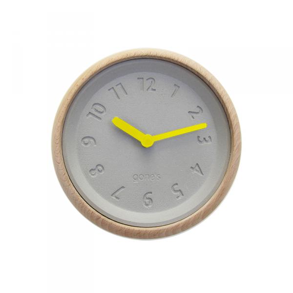 Horloge-murale-toupie-jaune