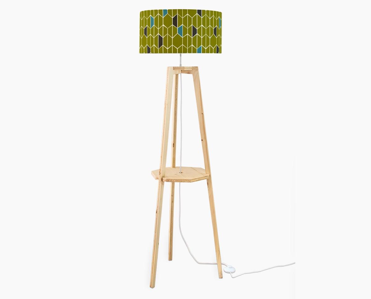 lampadaire-design-olivine-vert-trepied-bois-tablette