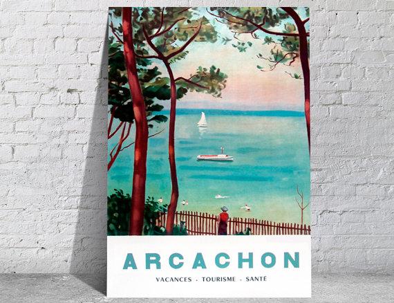 Affiche-poster-vintage-Arcachon