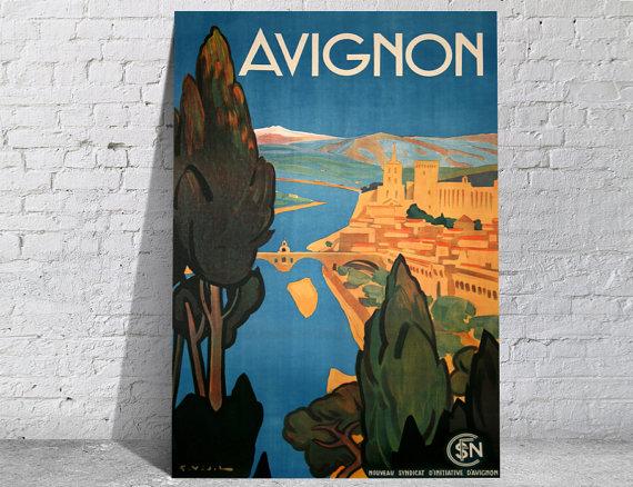 Affiche-poster-vintage-Avignon