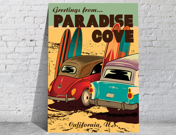 Affiche-poster-vintage-California