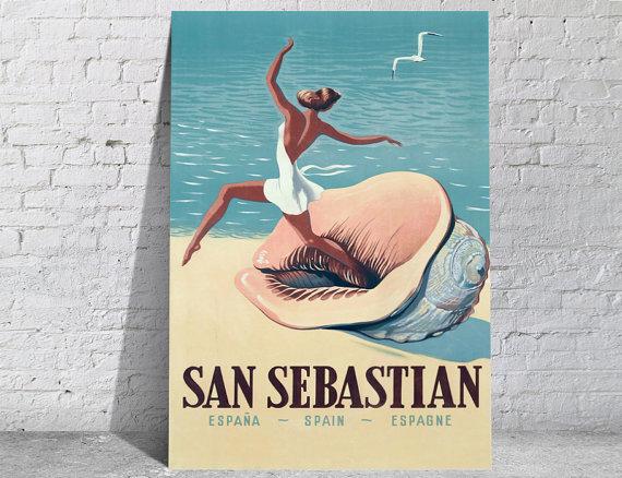 Affiche-poster-vintage-San-Sebastian
