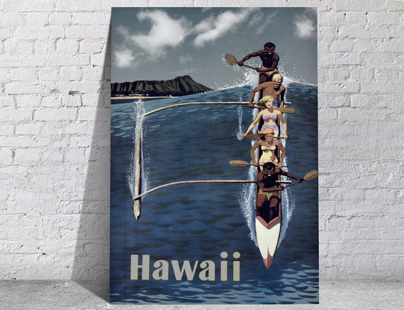 Affiche-poster-vintage-hawaii