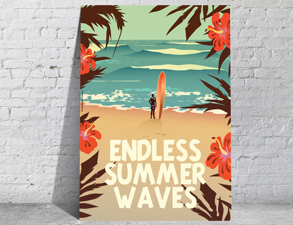 Affiche-poster-vintage-summer-waves