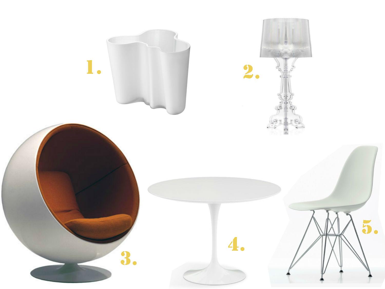 cinq-classiques-design-eames-aalto-aarnio-saarinen-laviani