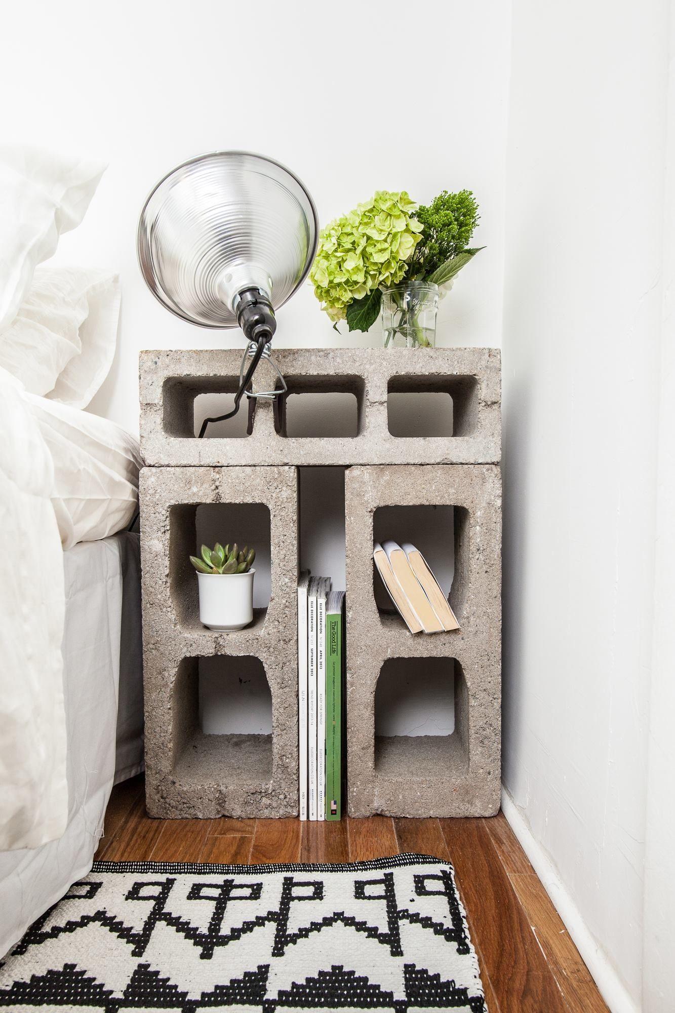table de nuit parpaing style industriel guten morgwen. Black Bedroom Furniture Sets. Home Design Ideas